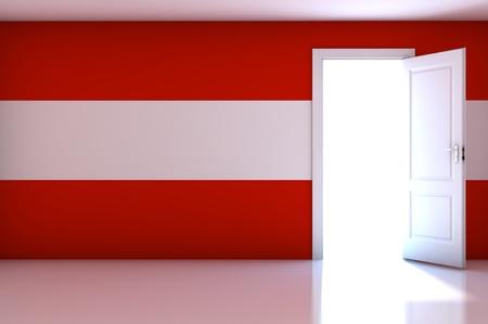Austria Flag on empty room Stock Photo