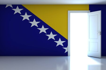 Bosnia_Herzegovina Flag on empty room photo