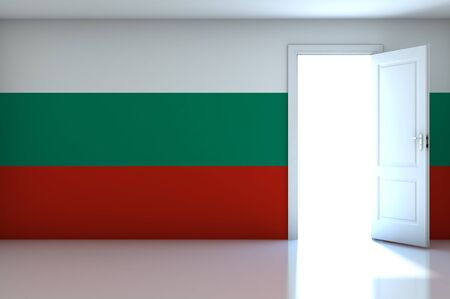 Bulgaria Flag on empty room photo