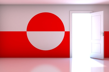 greenland: Greenland flag on empty room Stock Photo