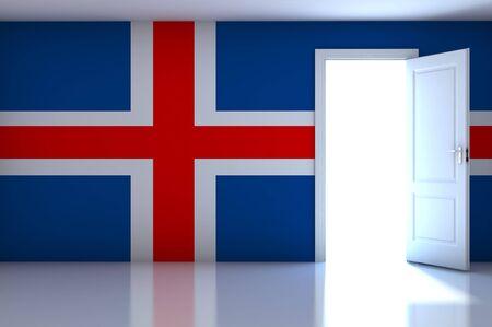 Iceland Flag on empty room photo