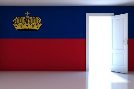 liechtenstein: Liechtenstein flag on empty room