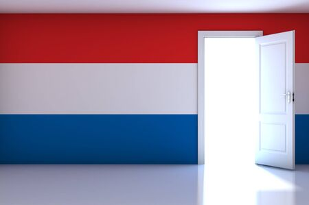 Luxembourg flag on empty room photo
