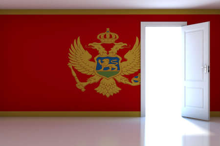 Montenegro flag on empty room photo