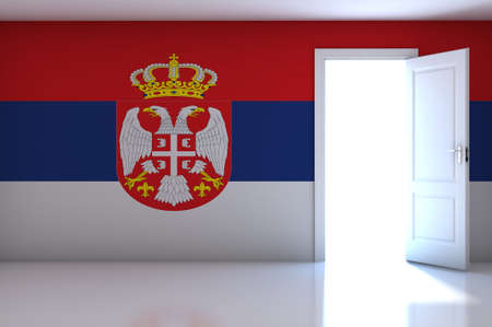 Serbia flag on empty room photo