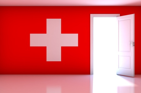 Switzerland flag on empty room photo