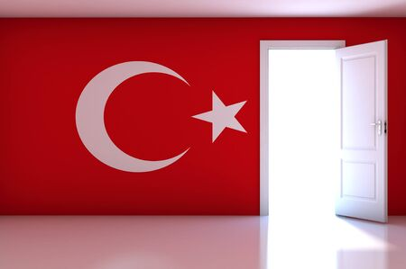 Turkey flag on empty room photo