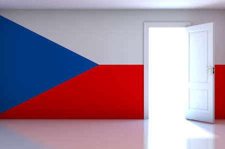 Czech Republic flag on empty room photo