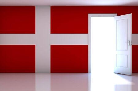 Denmark flag on empty room photo