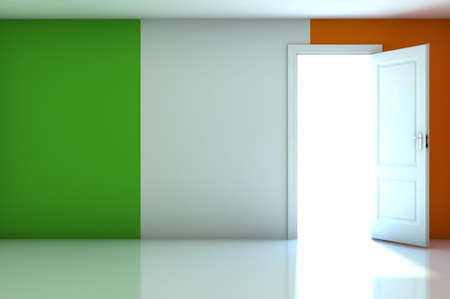 Ireland flag on empty room photo
