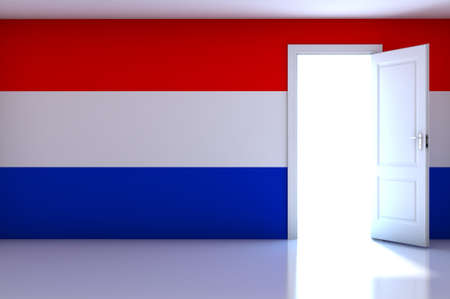 Netherlands flag on empty room photo