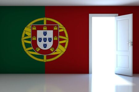 Portugal flag on empty room photo