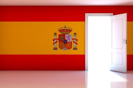 Spain flag on empty room photo