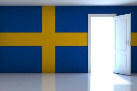 Sweden flag on empty room Stock Photo - 13623566