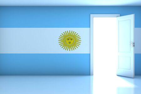 bandera argentina: Bandera de Argentina en la sala vac�a Foto de archivo
