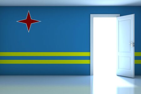 Aruba flag on empty room photo