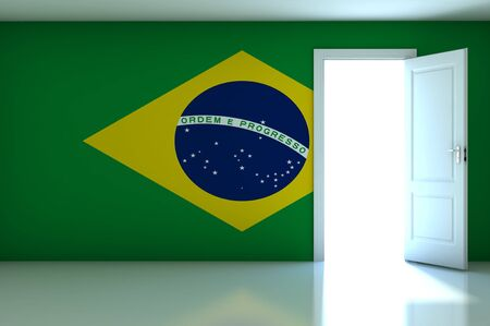 Brazil flag on empty room Stock Photo - 13670488