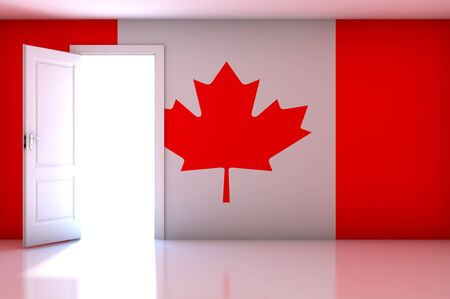 Canada flag on empty room photo