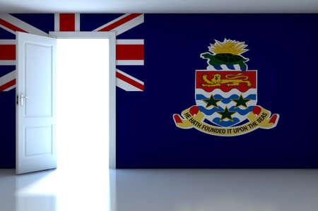 cayman islands: Cayman Islands flag on empty room Stock Photo