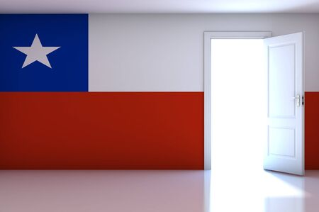 Chile flag on empty room photo