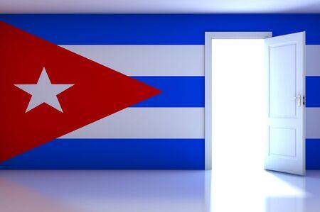 Cuba flag on empty room photo