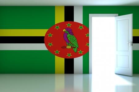 dominica: Dominica flag on empty room