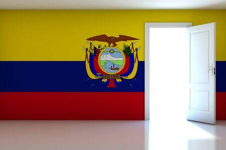 Ecuador flag on empty room photo