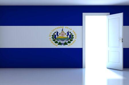 bandera de el salvador: Bandera de El Salvador en la sala vac�a Foto de archivo