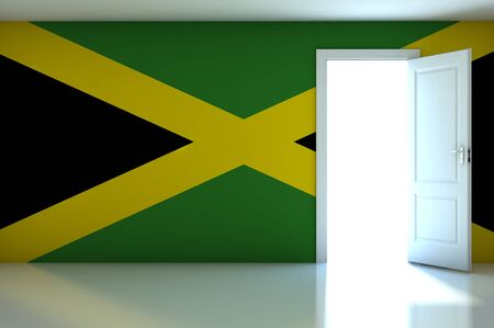 Jamaica flag on empty room photo