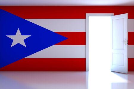 Puerto Rico flag on empty room photo