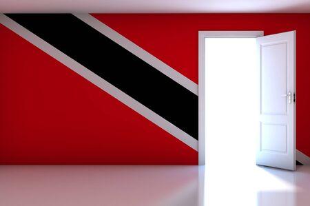Trinidad And Tobago flag on empty room photo