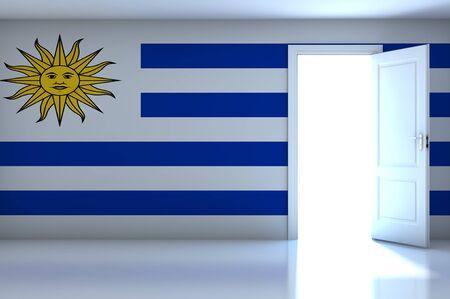 uruguay flag: Uruguay flag on empty room