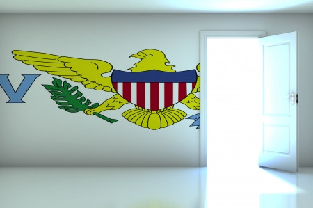 Virgin Islands flag on empty room photo