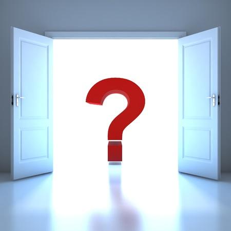 Question mark word conceptual in the future Standard-Bild