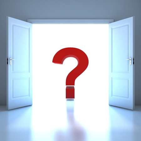 door way: Question mark word conceptual in the future Stock Photo