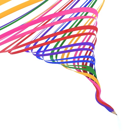 Abstract background line of colour pencil as rainbow illustration Stock Illustration - 14010470