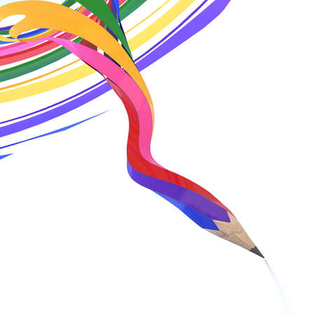 Abstract background line of colour pencil as rainbow illustration illustration