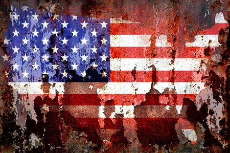 Grunge textured of USA flag for USA Independence Day photo