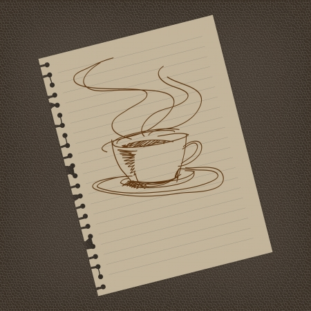 Coffee sign draw on notepaper illustrator photo
