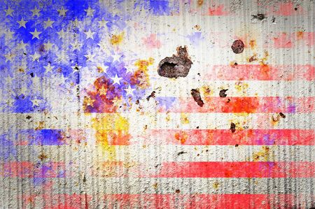 bad condition: Grunge textured of USA flag for USA Independence Day