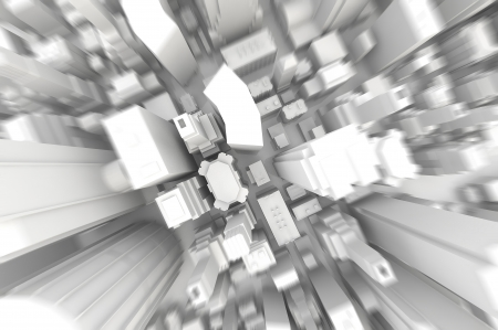 abstract 3d illustration of gray boxes city background Stock Photo