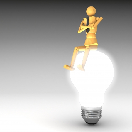 The wooden doll with light bulb 3d illustration Stock Illustration - 14372759