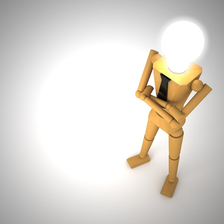 The wooden doll with light bulb 3d illustration illustration