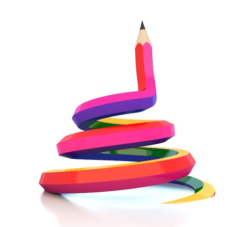 color image creativity: Abstract background line of colour pencil illustration
