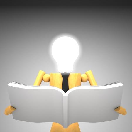 cartoon light bulb: The light bulb head wooden doll with book 3d illustration