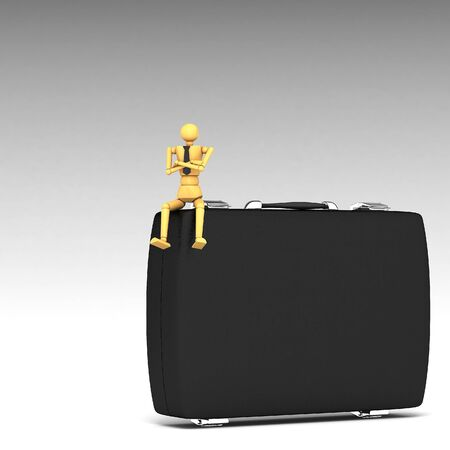 The wooden doll with briefcase 3d illustration illustration