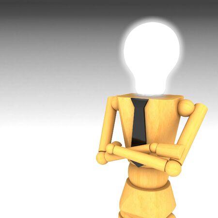 cartoon light bulb: The wooden doll with light bulb head 3d illustration