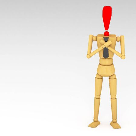 The wooden doll with Exclamation mark 3d illustration illustration