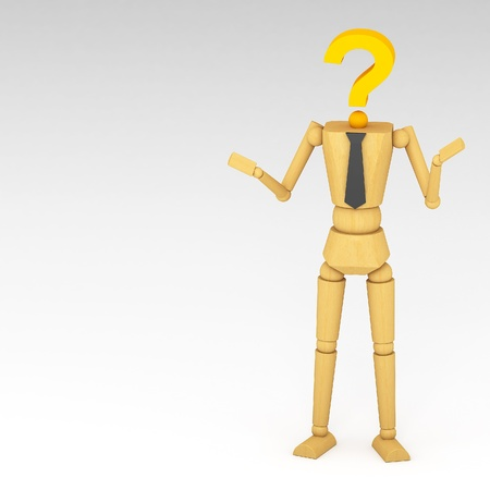 The wooden doll with Question mark 3d illustration illustration