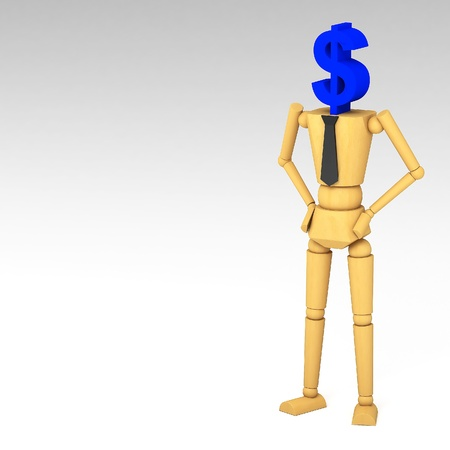 The wooden doll with dollar sign 3d illustration illustration